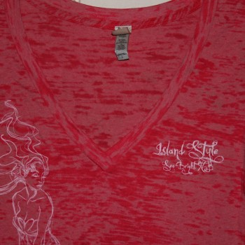Iss Ladies Burnout Mermaid V Neck SSt Pink sku24-400 $26.00